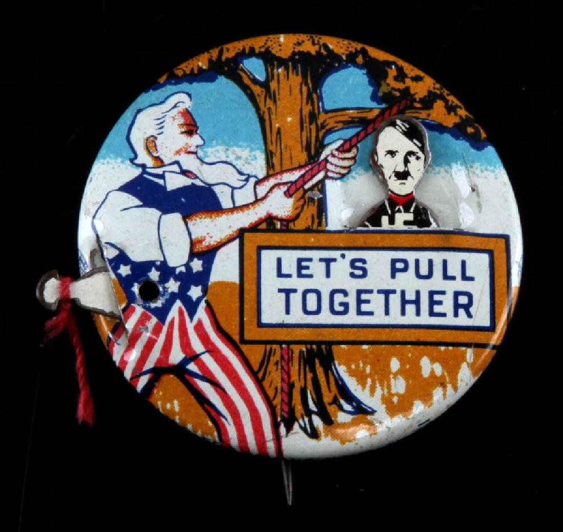 WWII US PULL TOGETHER NOVELTY HANG HITLER BUTTON - 2