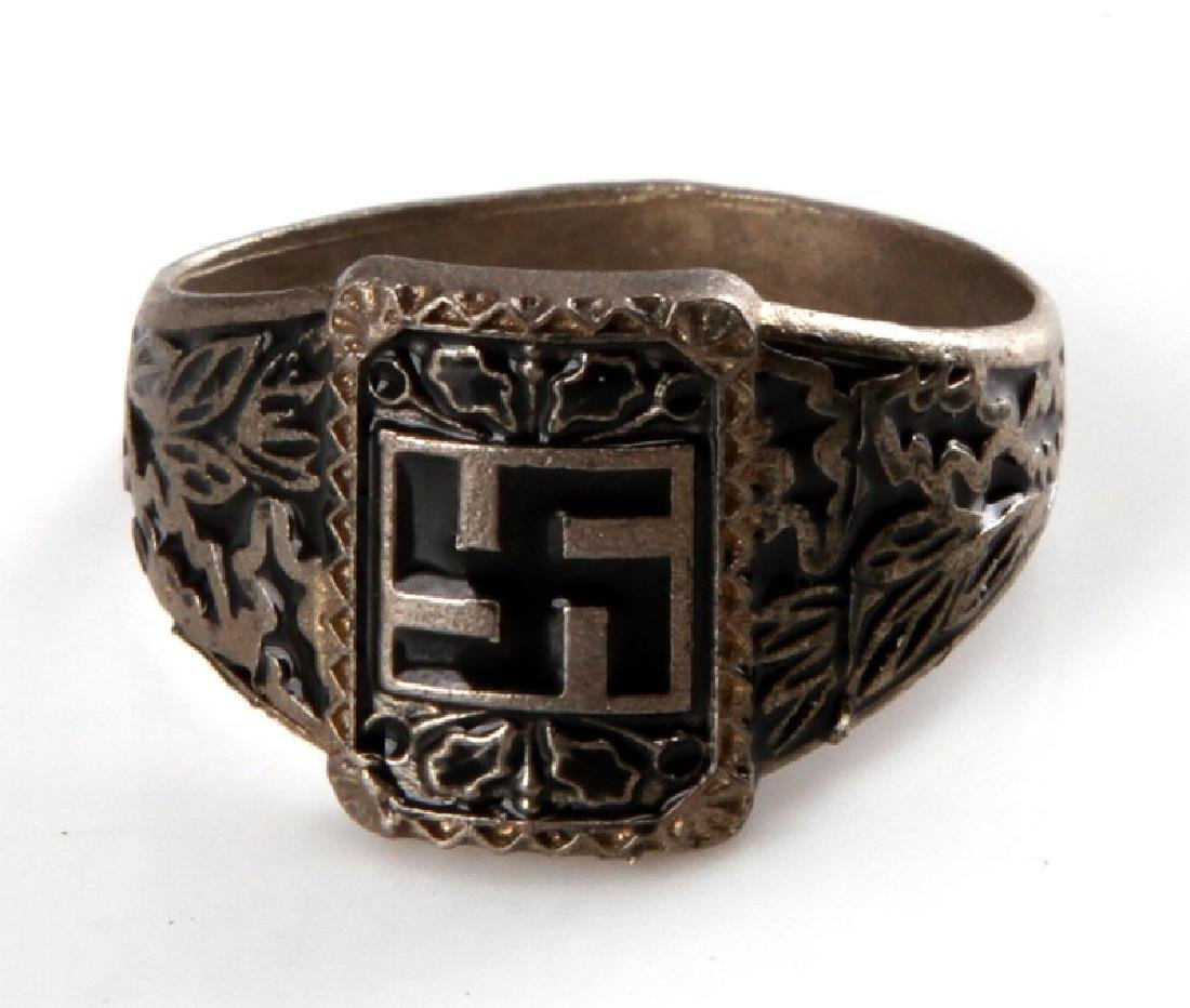 WWII GERMAN THIRD REICH SILVER SWASTIKA RING
