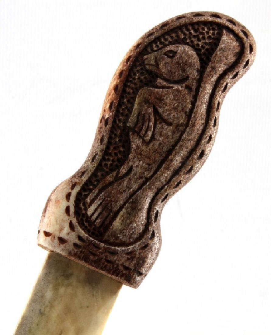 NATIVE AMERICAN CARVED POLISHED BONE KNIFE