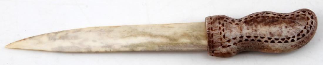 NATIVE AMERICAN CARVED POLISHED BONE KNIFE - 4