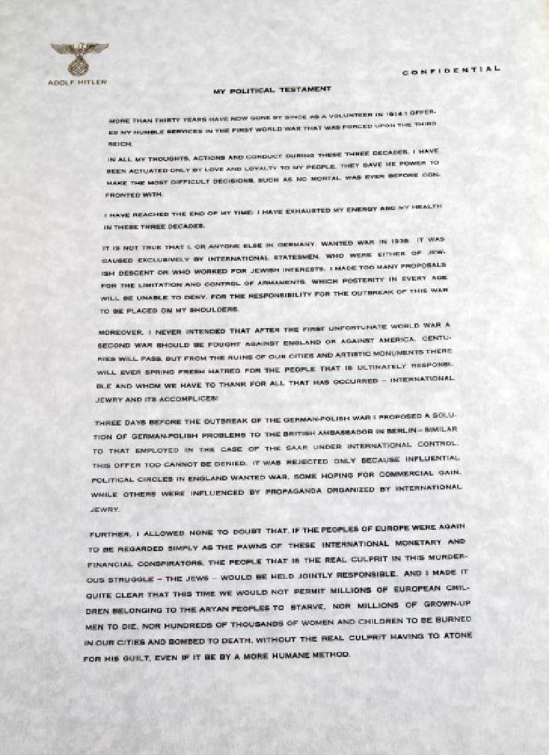 WWII GERMAN THIRD REICH REPRODUCTION HITLER PAPERS - 3