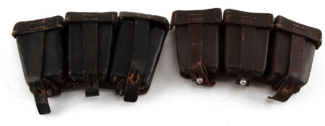 2 GERMAN WWII K98 AMMO POUCHES IN BROWN & BLACK