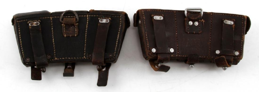2 GERMAN WWII K98 AMMO POUCHES IN BROWN & BLACK - 2