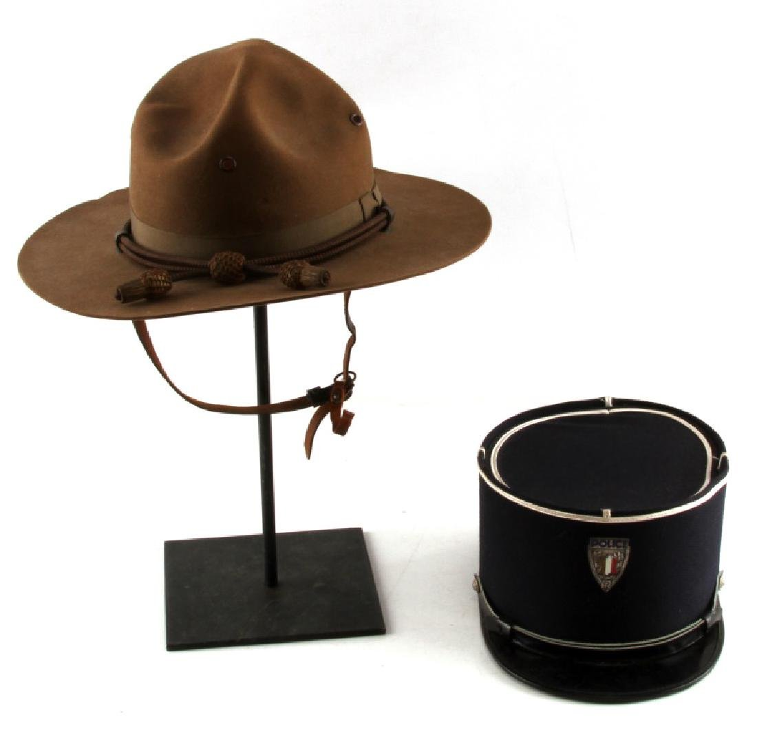 WWII CAMPAIGN HAT & CORD & FRENCH POLICE VISOR