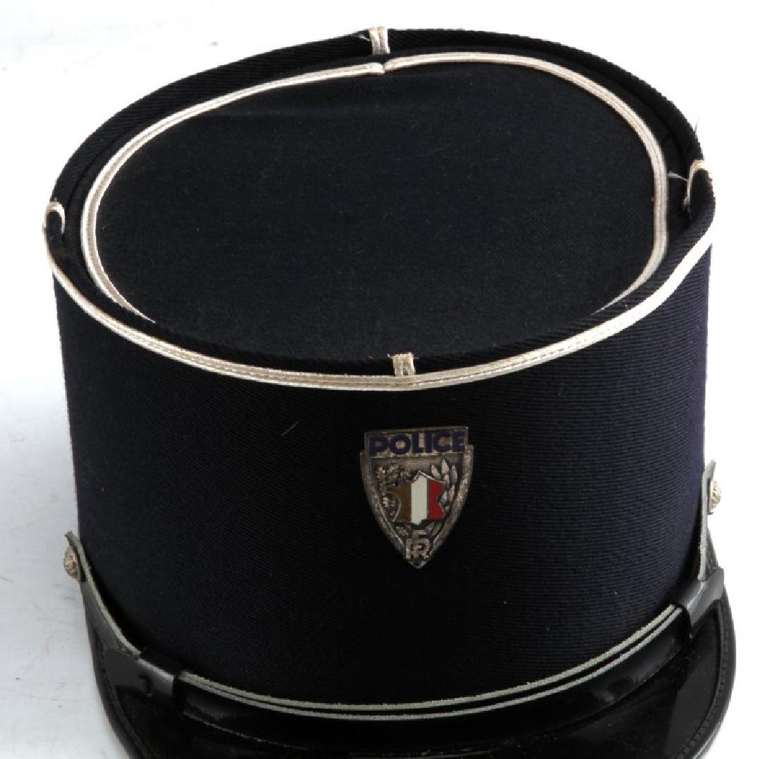 WWII CAMPAIGN HAT & CORD & FRENCH POLICE VISOR - 2