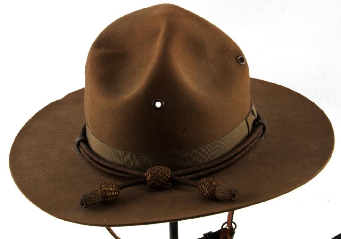 WWII CAMPAIGN HAT & CORD & FRENCH POLICE VISOR - 3