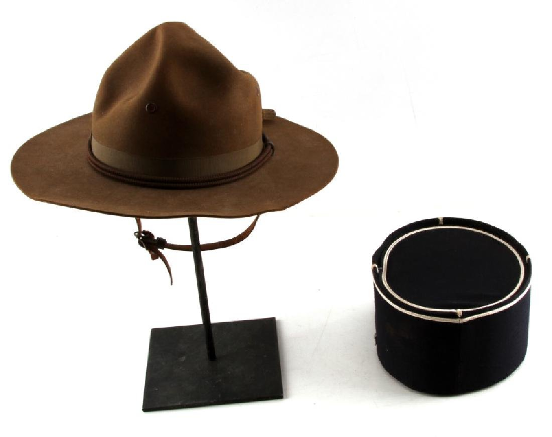 WWII CAMPAIGN HAT & CORD & FRENCH POLICE VISOR - 4