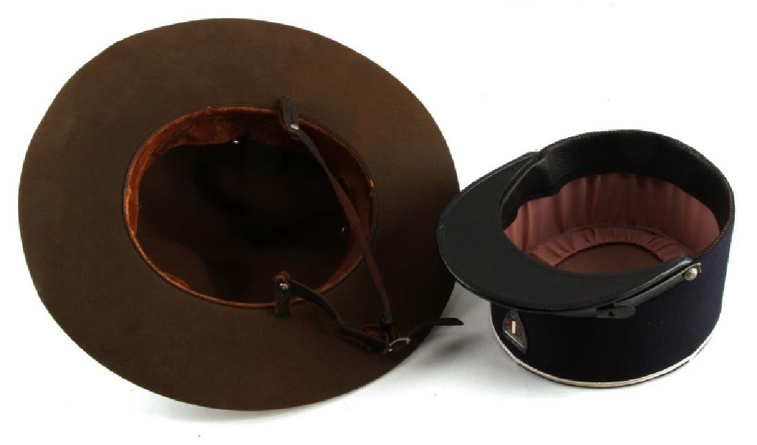 WWII CAMPAIGN HAT & CORD & FRENCH POLICE VISOR - 5