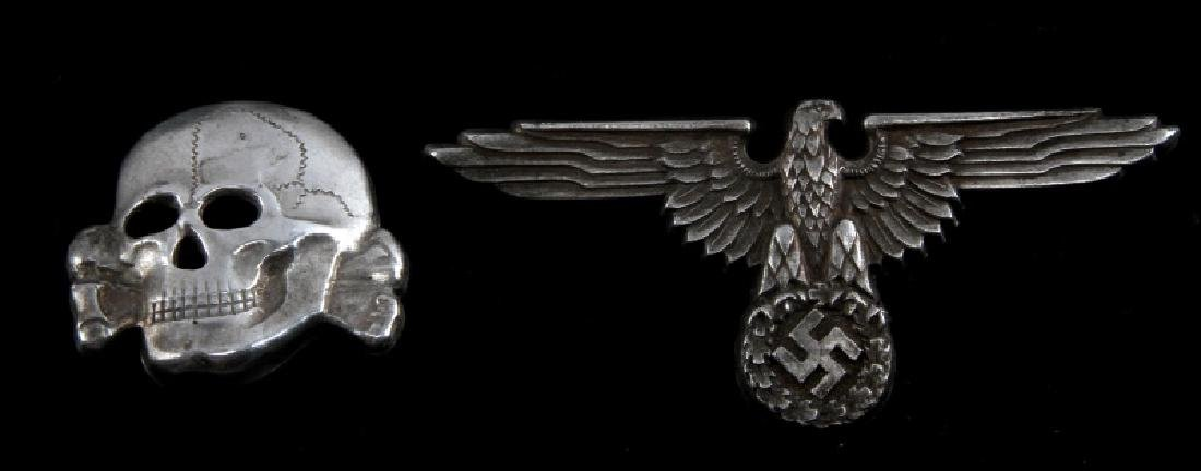 WWII GERMAN 3RD REICH WAFFEN SS VISOR CAP INSIGNIA