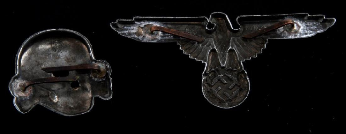 WWII GERMAN 3RD REICH WAFFEN SS VISOR CAP INSIGNIA - 2