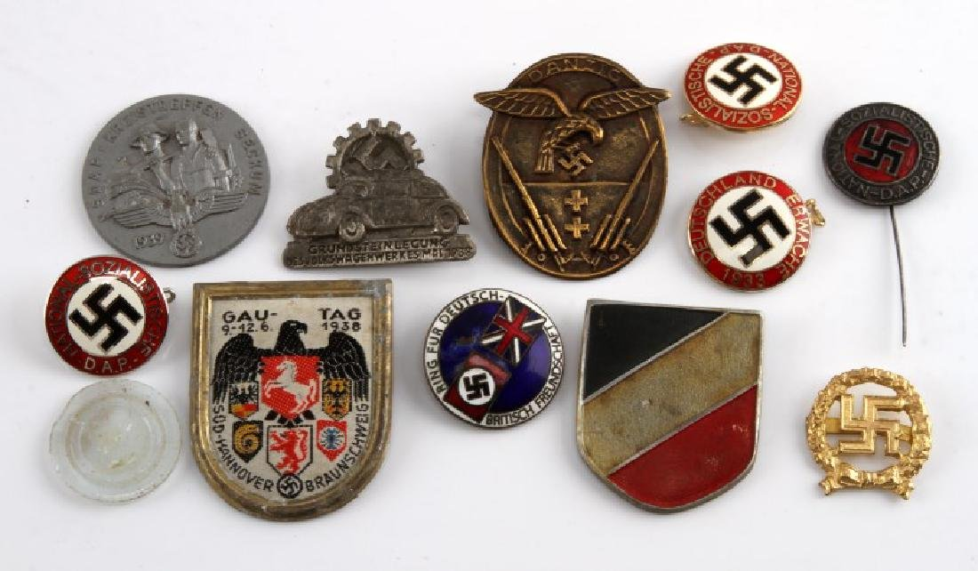 MIXED LOT OF 12 GERMAN WWII MEDALS TINNIES MORE