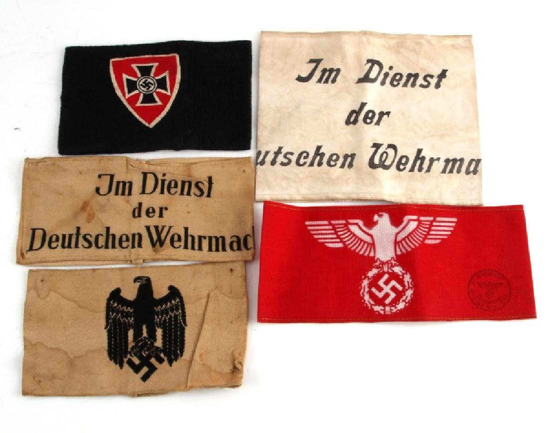 WWII GERMAN THIRD REICH VARIOUS ARMBAND LOT OF 5