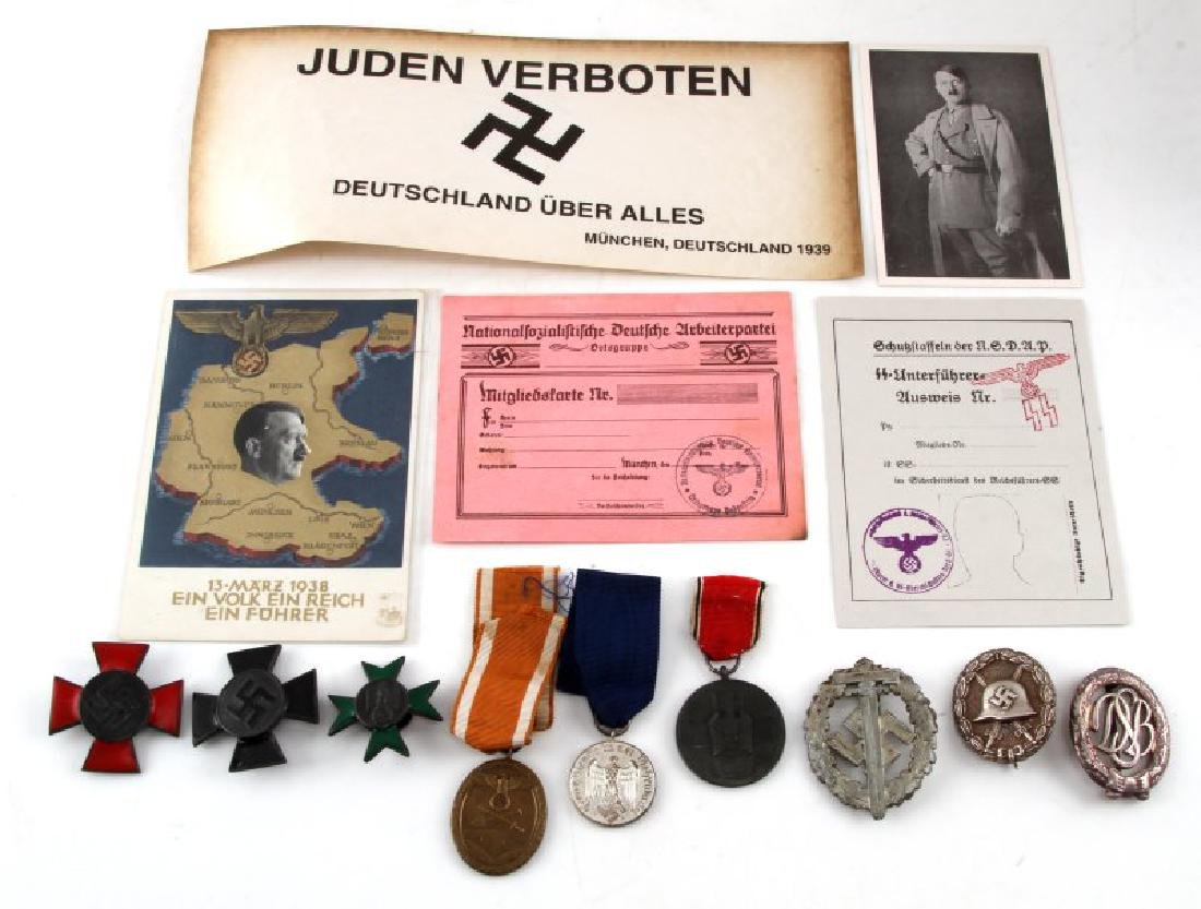 LOT OF 14 GERMAN WWII MEDAL LOT DOCUMENTS MORE