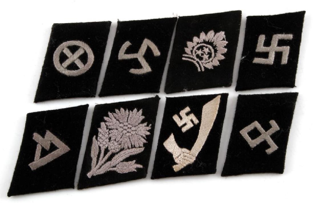 LOT OF 8 OBSCURE GERMAN WWII SS COLLAR TABS