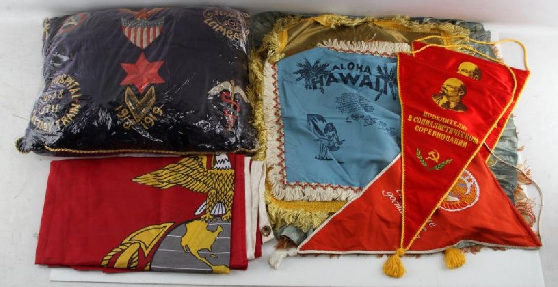 ASSORTED MILITARY PILLOW CASE FLAG & PENNANT LOT