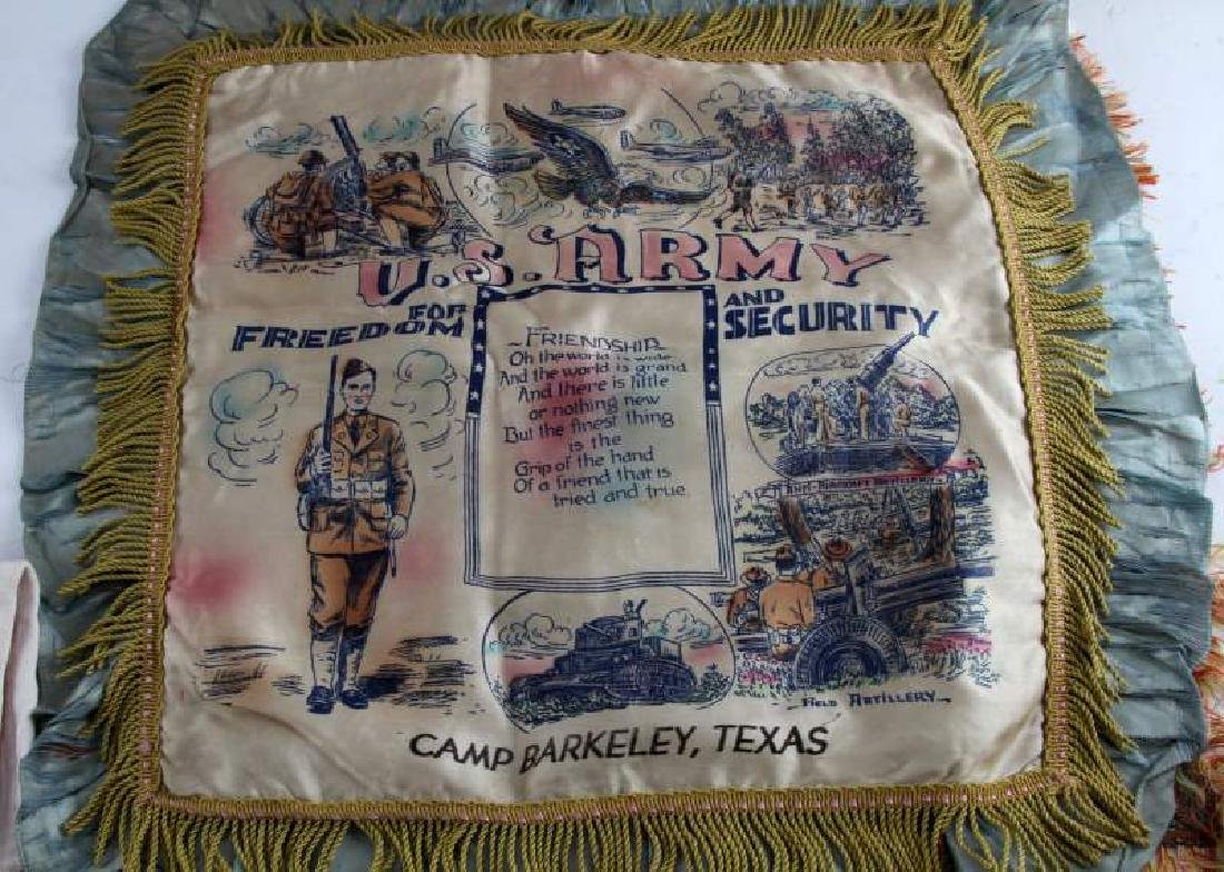 ASSORTED MILITARY PILLOW CASE FLAG & PENNANT LOT - 5