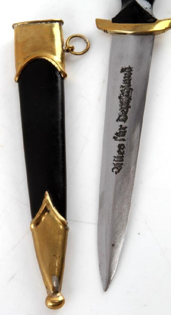 GERMAN WWII THIRD REICH SS MINI DAGGER W SCABBARD - 2