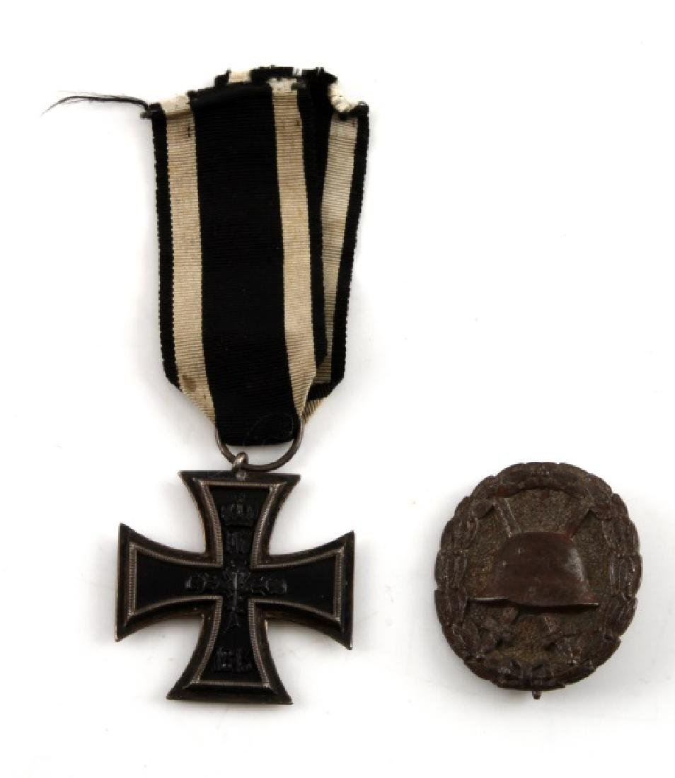 GERMAN WWII IRON CROSS 2ND CLASS & WOUND BADGE