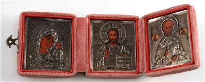 RUSSIAN IMPERIAL TRIPTYCH OF TRAVELING ICONS