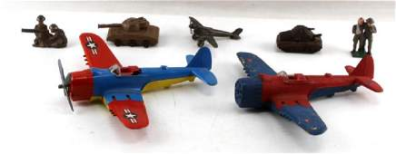 WWI WWII MILITARY ANTIQUE TOY LOT TANK PLANE MEN