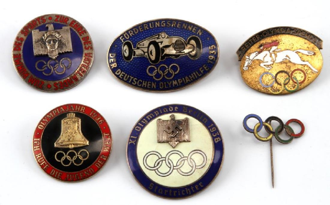 6 GERMAN WWII 1936 OLYMPIC PINS AND BADGES