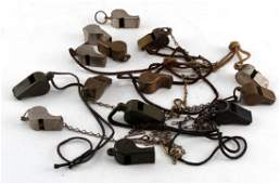 WWI WWII VIETNAM MILITARY WHISTLE COLLECTION OF 14