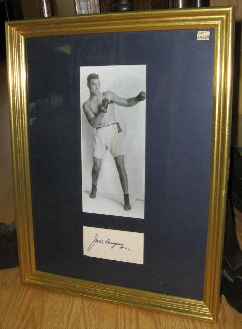 JACK DEMPSEY AUTOGRAPH MATTED AND FRAMED W/ PHOTO