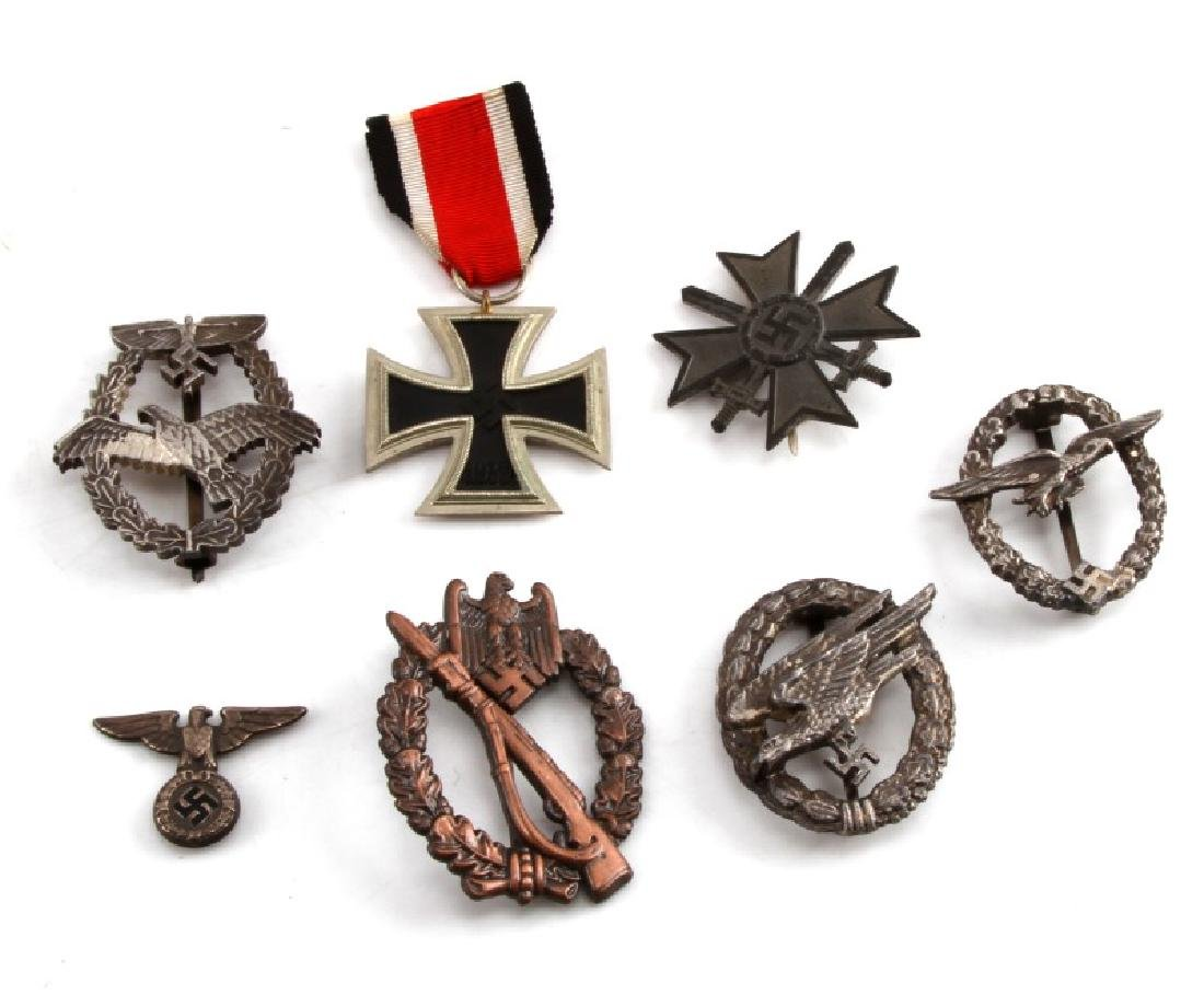 LOT OF 7 GERMAN WWII MEDALS AND BADGES