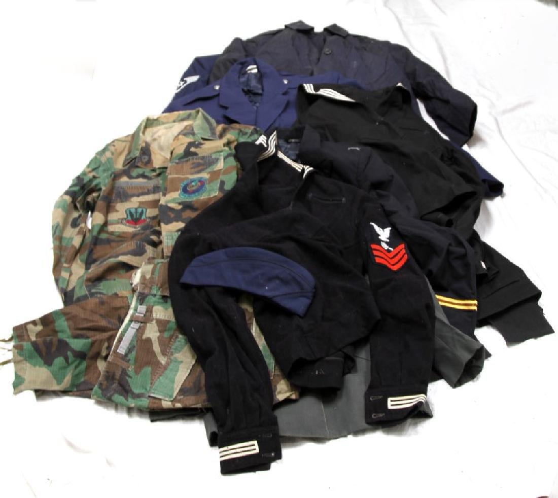 LARGE LOT OF ASSORTED MILITARY UNIFORM & COATS