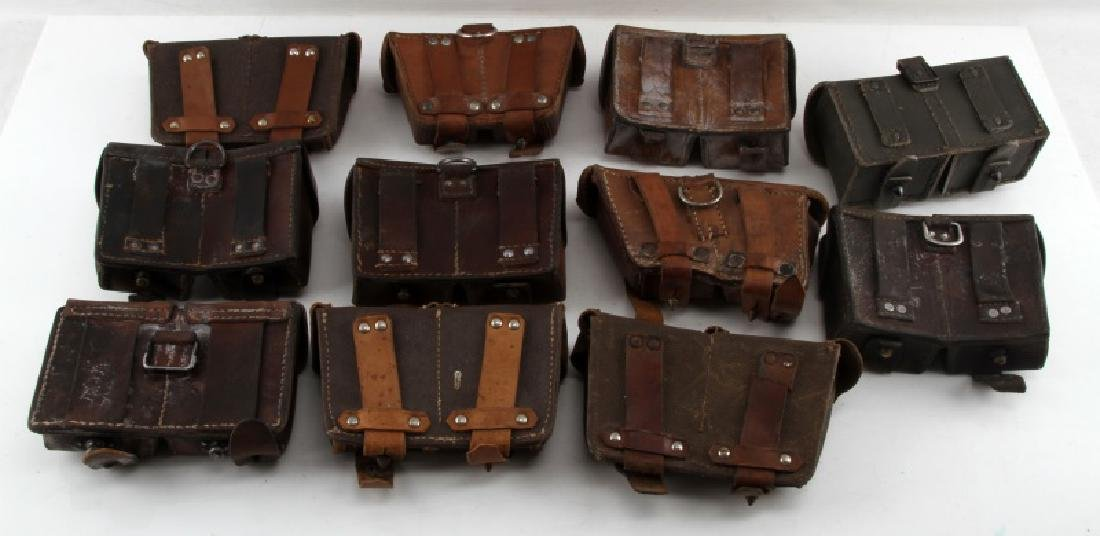11 WWII MIXED GERMAN SOVIET & OTHER AMMO POUCHES - 6