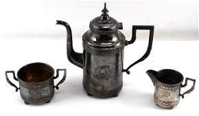 WWII GERMAN THIRD REICH SILVER 3 PIECE TEA SET