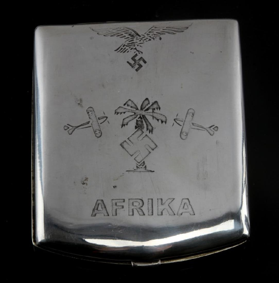 GERMAN WWII LUFTWAFFE PILOT AFRICA CIGARETTE CASE - 3