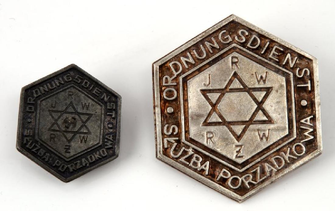 2 GERMAN WWII WARSAW GHETTO POLICE BADGE LOT