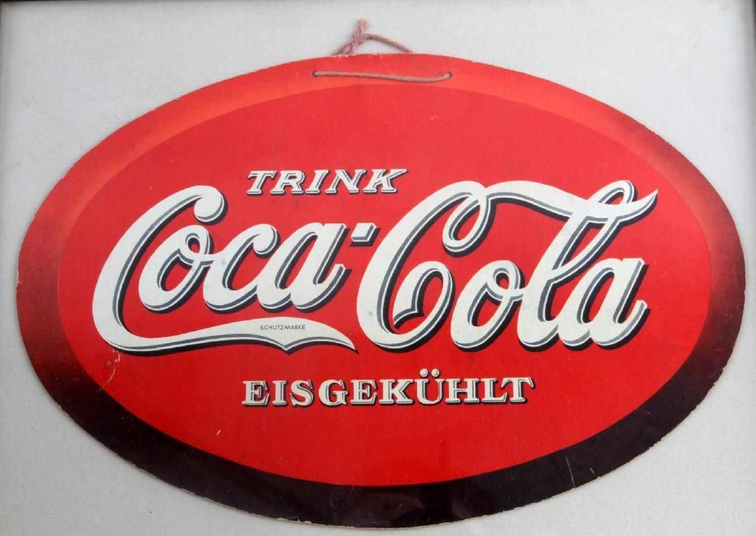 PRE WWII GERMAN COCA COLA SIGN FRAMED - 2