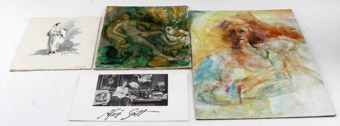 ALICE SCOTT SCANLAND WATER OIL & INK PAINTING LOT
