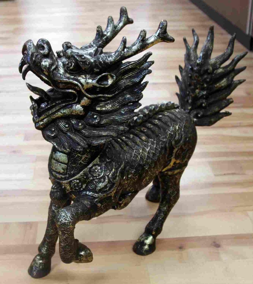 """LARGE 21x20"""" CAST IRON CHINESE FOO DOG LION"""