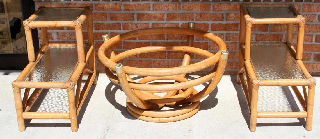 PAUL FRANKL STYLE RATTAN END TABLE & COFFEE TABLE