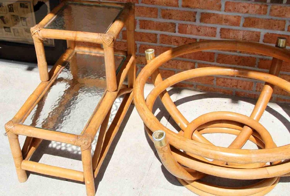 PAUL FRANKL STYLE RATTAN END TABLE & COFFEE TABLE - 2