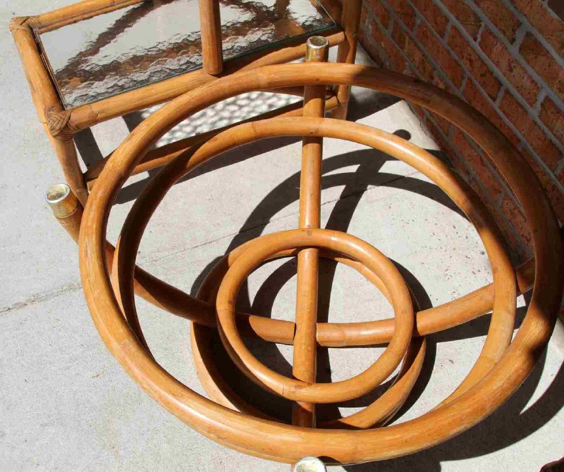 PAUL FRANKL STYLE RATTAN END TABLE & COFFEE TABLE - 4