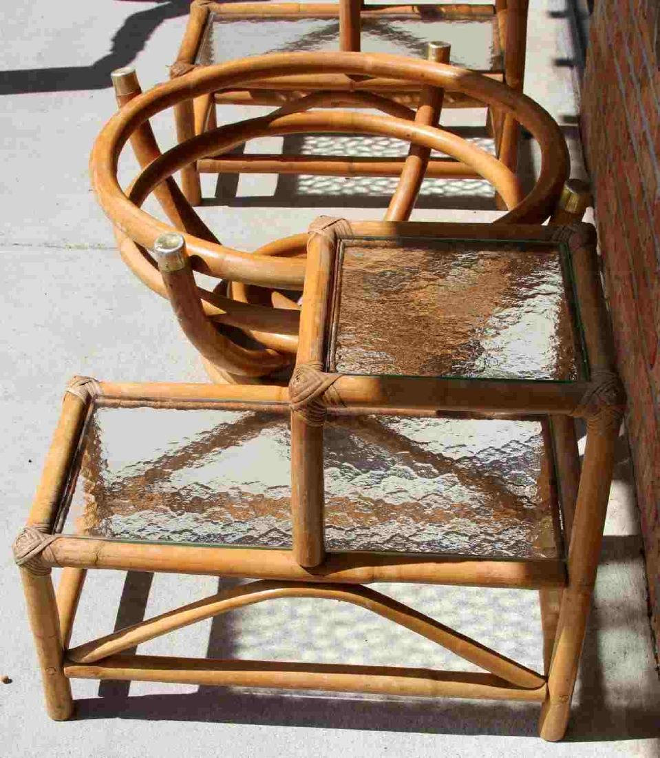 PAUL FRANKL STYLE RATTAN END TABLE & COFFEE TABLE - 5