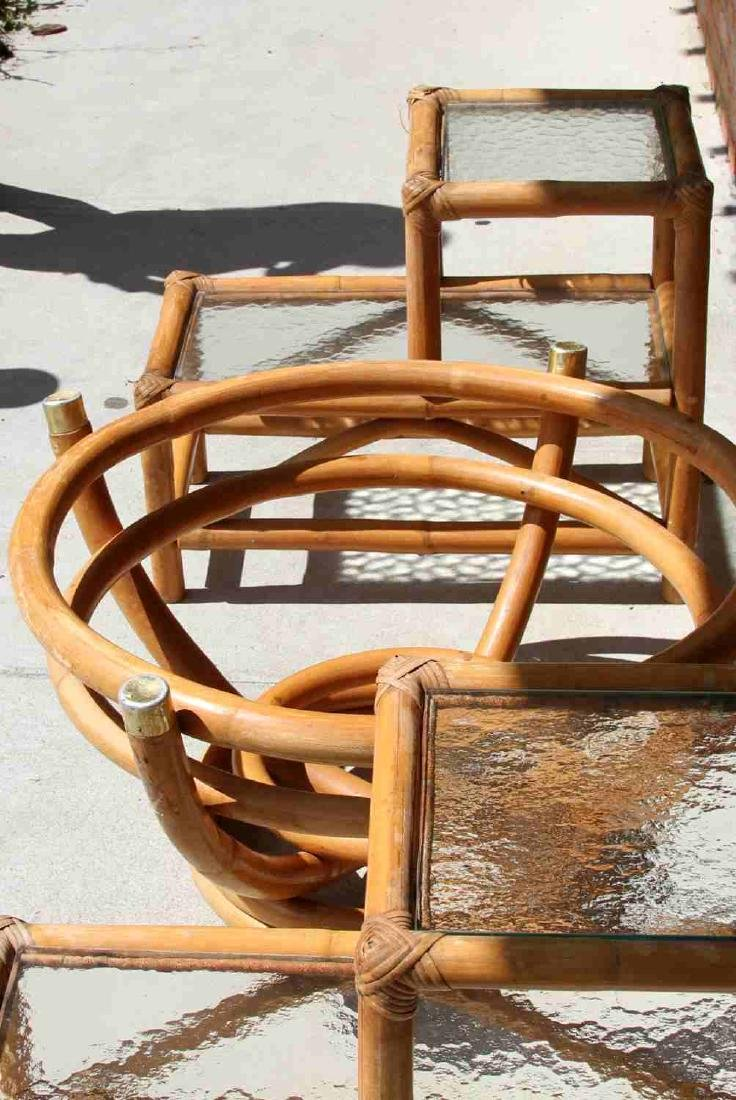 PAUL FRANKL STYLE RATTAN END TABLE & COFFEE TABLE - 6