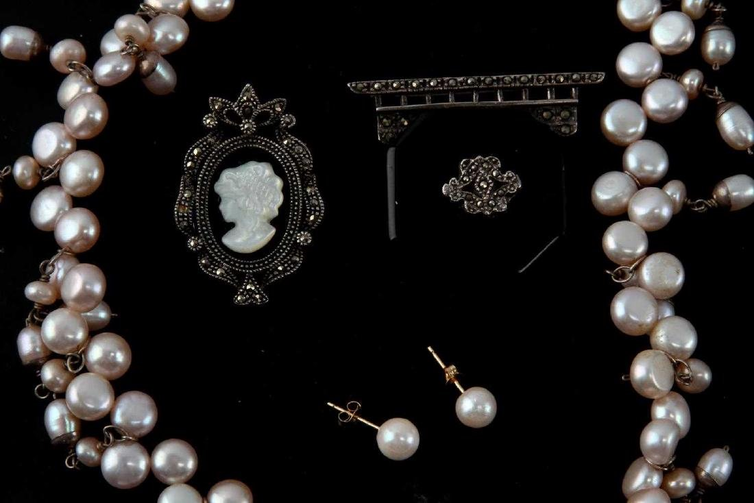 CULTURED PEARL CAMEO & VICTORIAN MOURNING PIN LOT - 2