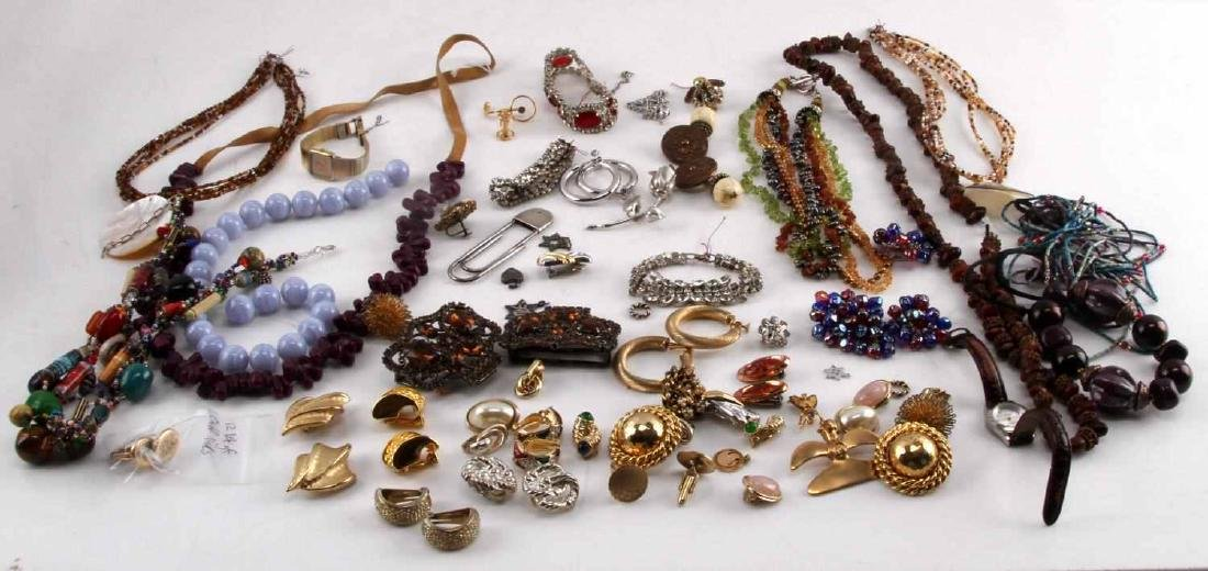 VINTAGE TO MODERN COSTUME AND SILVER JEWELRY LOT