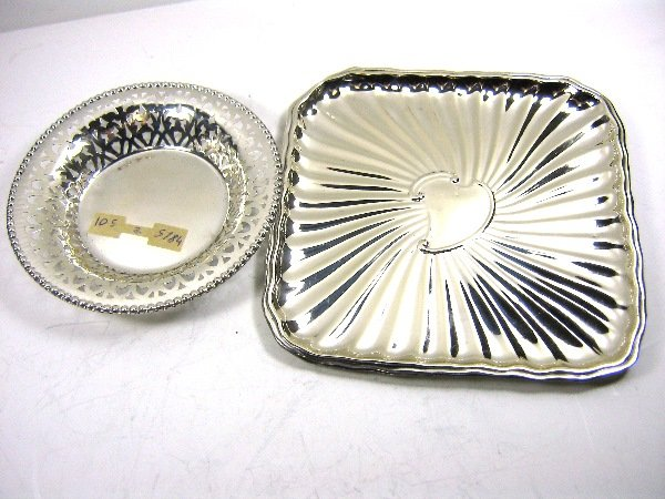 2 STERLING SILVER LACE DISH TRAY BOWL LOT 145 GRAM