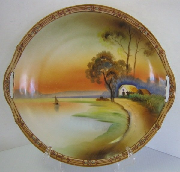 NIPPON JAPANESE GILDED MORIAGE PLATE COUNTRY SCENE