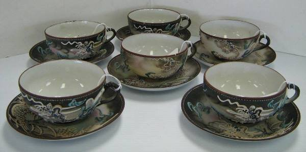 LOT 6 NIPPON DRAGONWARE MORIAGE SAUCERS CUPS