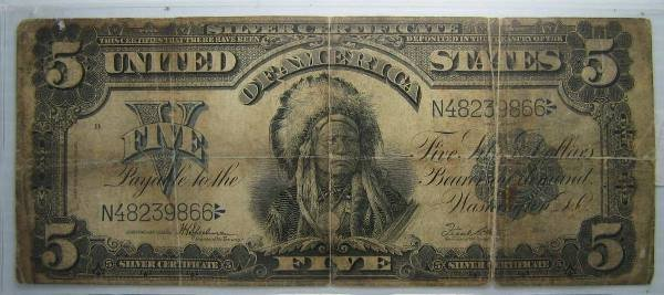 1899 LARGE SIZE SILVER CERTIFICATE $5 FR-281 AG
