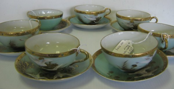 LOT NIPPON FLYING GEESE CORALENE GILDED SAUCER CUP
