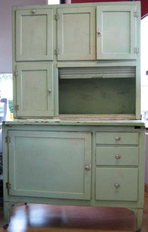 Green Hoosier Cabinet Baking Hutch