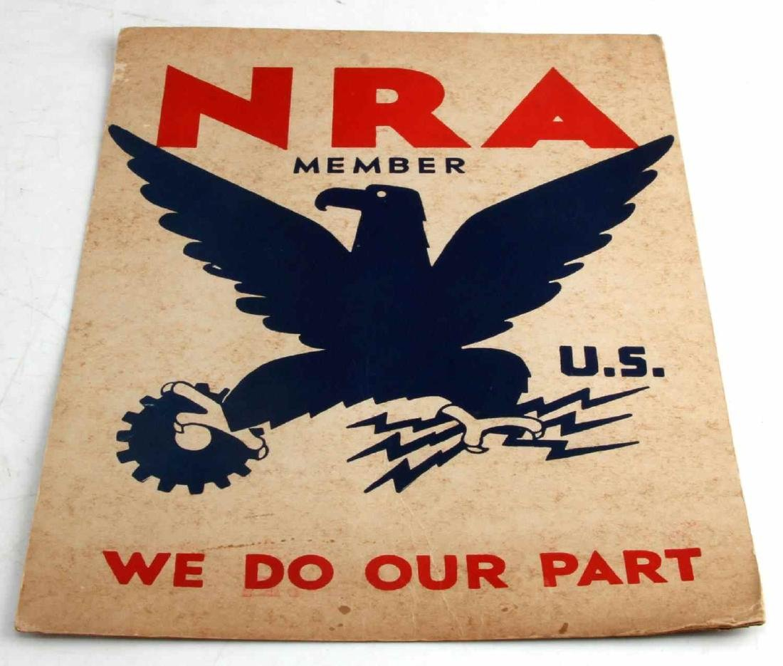1933 US NRA MEMBER WE DO OUR PART 14X11 POSTER